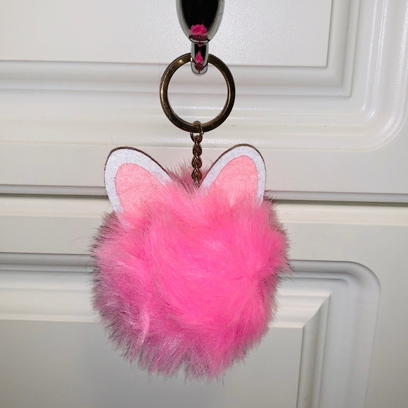 Accessories - Pink Fluffy Pom Pom with Bunny Ears Keychain